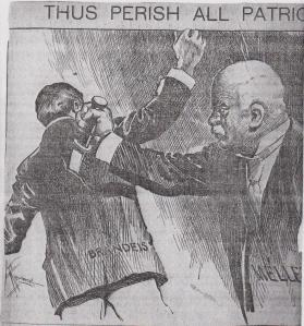 Editorial cartoon of Louis D. Brandeis being stabbed in the back by Charles Mellen.
