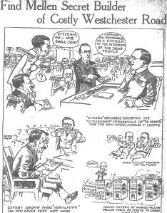 Editorial cartoon of Louis D. Brandeis before the ICC>