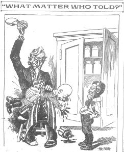 Editorial cartoon of Louis D. Brandeis as a little boy.