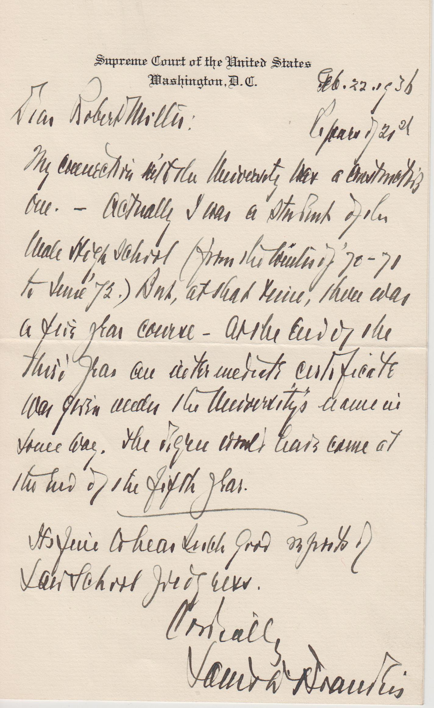 Was louis d brandeis a university of louisville alumnus february 22 1936 letter from louis d brandeis to robert miller aljukfo Image collections
