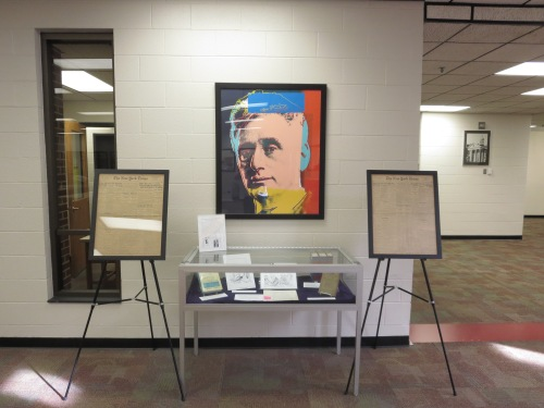 Full picture of display of the centennial of Brandeis' nomination to the Supreme Court at the Louis D. Brandeis School of Law Library at the University of Louisville.