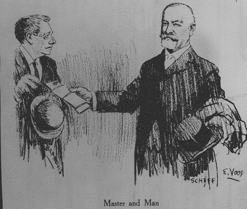 A drawing of Louis D. Brandeis and Jacob Schiff in the April 25, 1914 issue of The truth magazine.