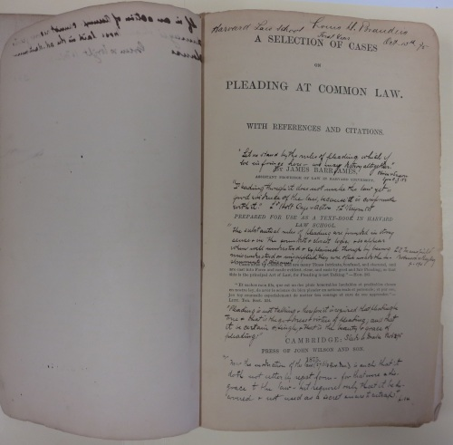 The cover page of Ames' A Selection of Cases on Pleading at Common Law.