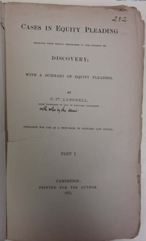 Title page of Langdell's Cases in Equity Pleading casebook.